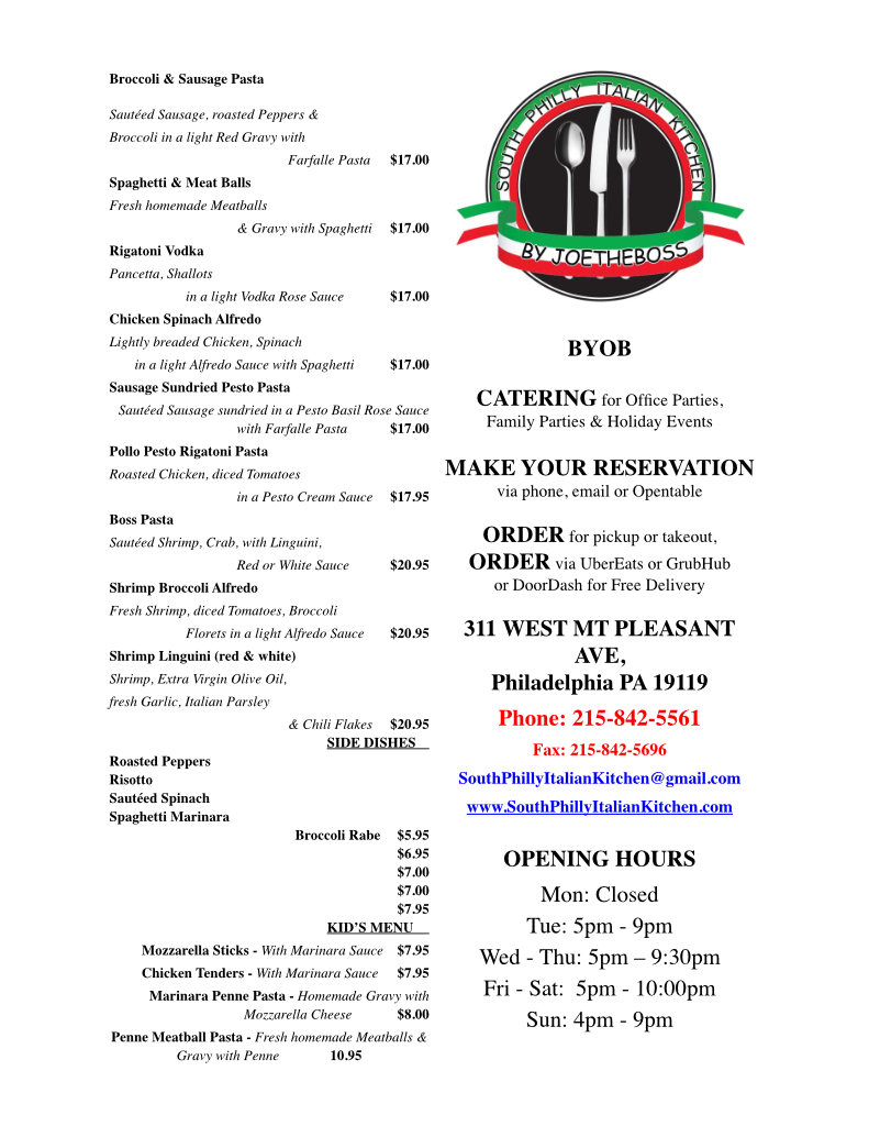 Food Menu South Philly Kitchen